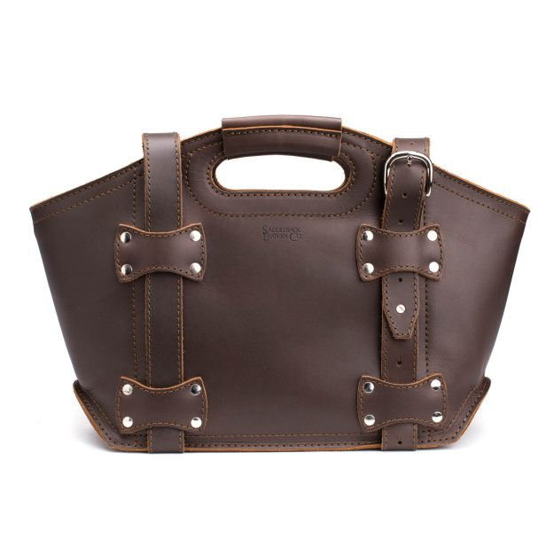 premium leather tote bag small in dark coffee brown leather