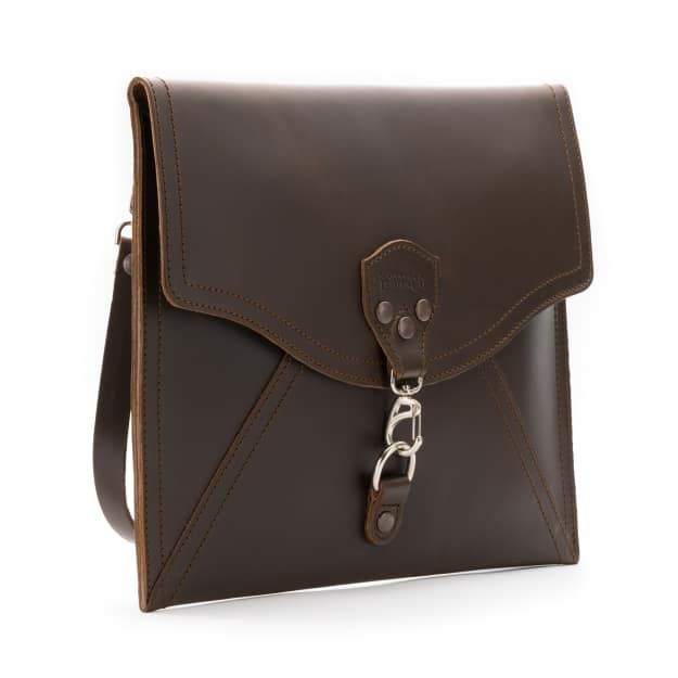 leather envelope clutch in dark coffee brown leather