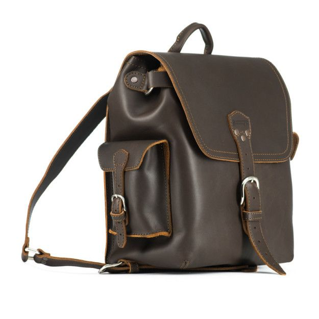 leather backpack medium in dark coffee brown leather