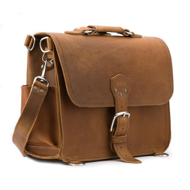 medium leather satchel large in tobacco leather
