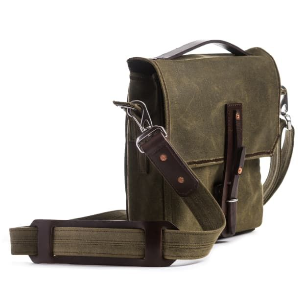 waxed canvas gear bag small in moss green canvas