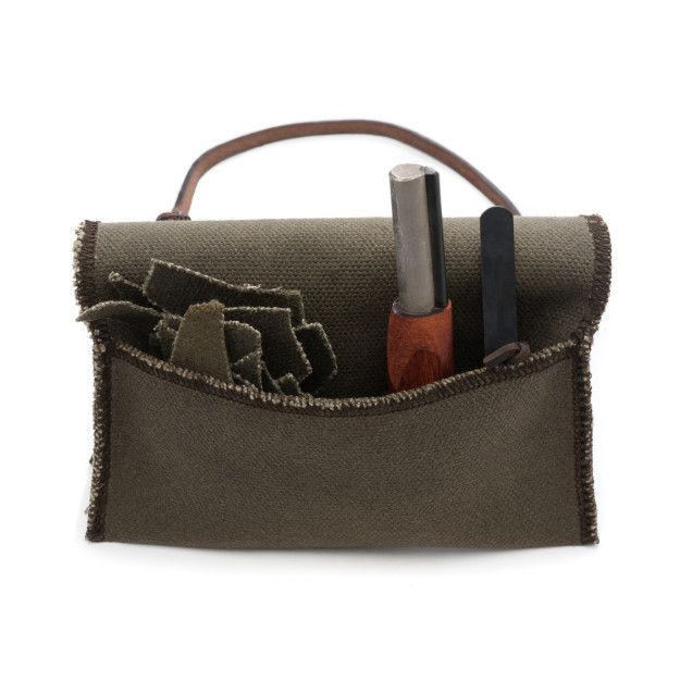 waxed canvas fire starting kit in moss green canvas