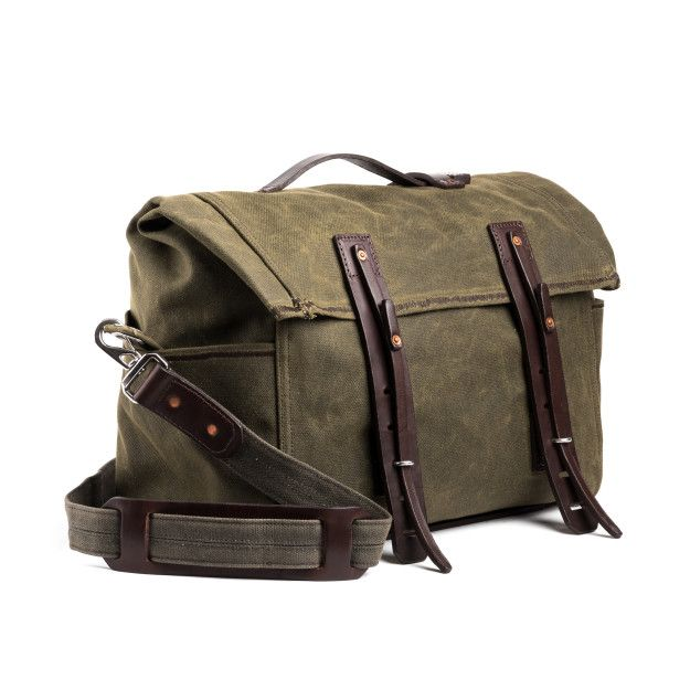 rolled waxed canvas duffel bag small in moss green canvas