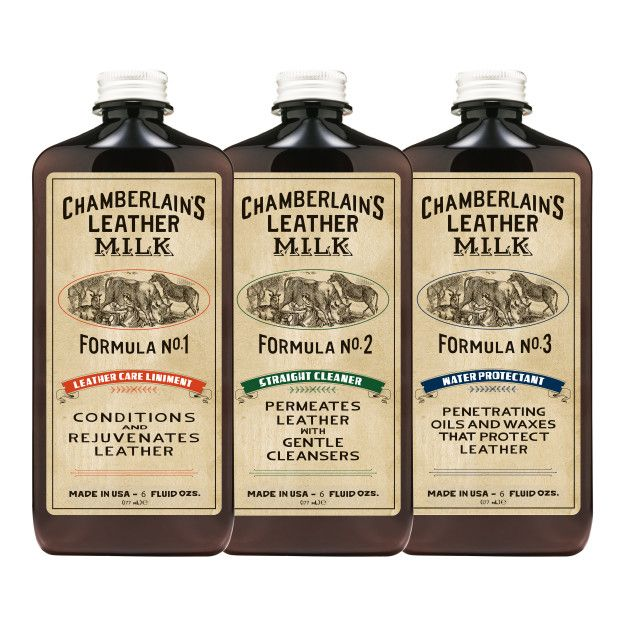 chamberlains leather milk set