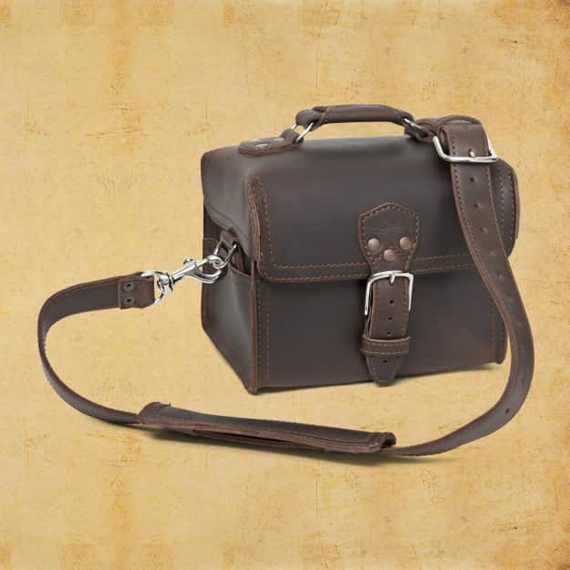 Leather Gadget Bag - Medium, Dark Coffee Brown (15% Discount)