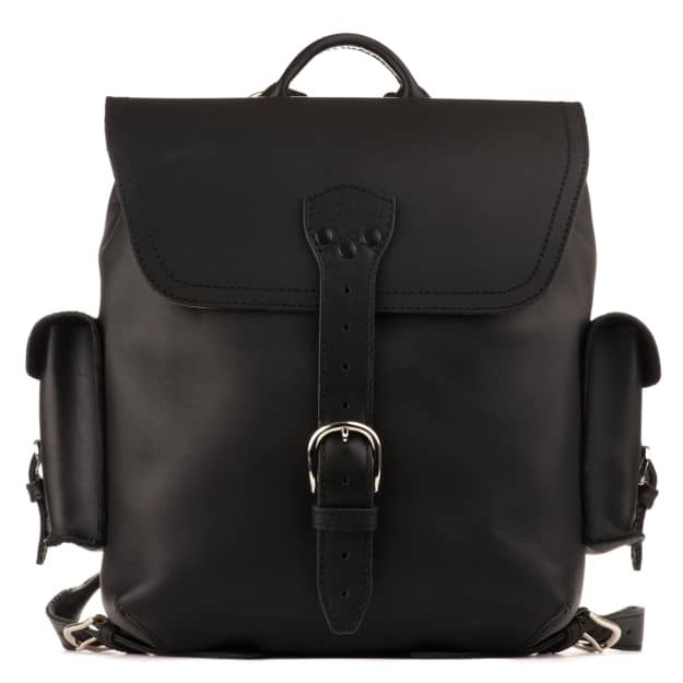 Simple Leather Backpack - Medium,Black (15% Discount)