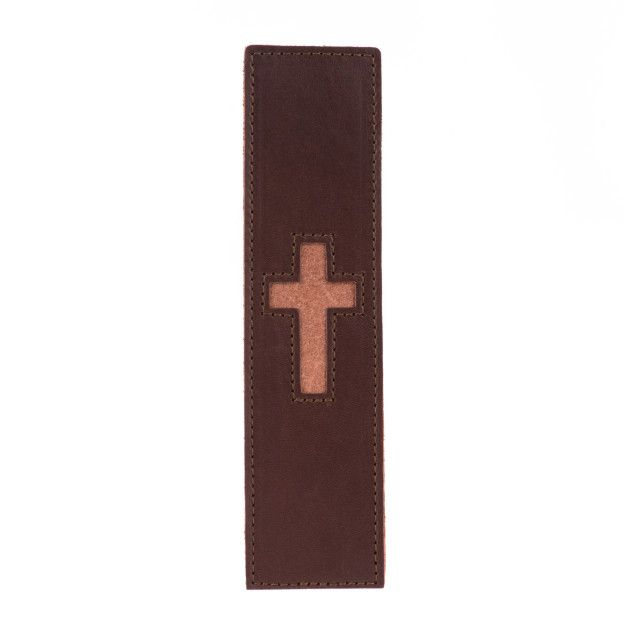 leather bookmark in chestnut leather