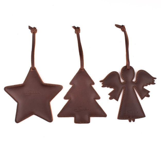 leather christmas ornaments in chestnut leather