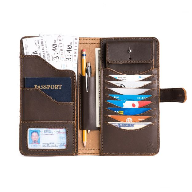 mens large leather wallet in dark coffee brown leather with passport, payment card and business card