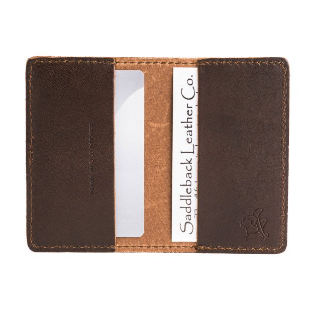 open leather business card wallet in dark coffee brown leather