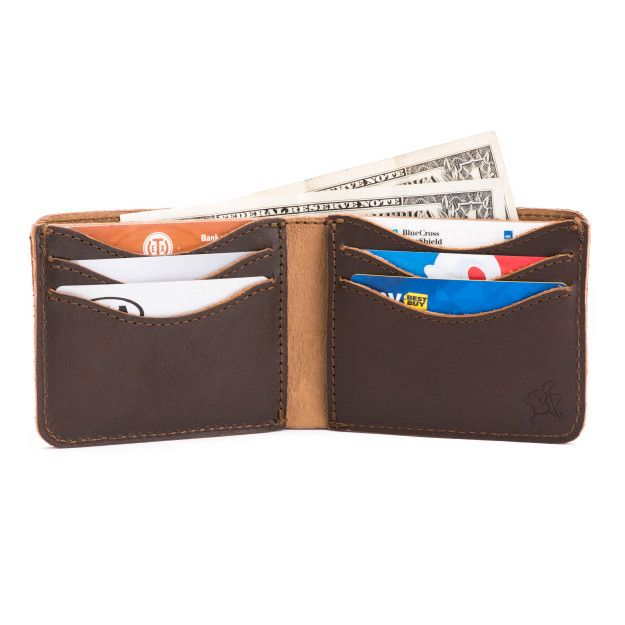 leather medium bifold wallet medium in dark coffee brown leather with money, credit cards, business cards