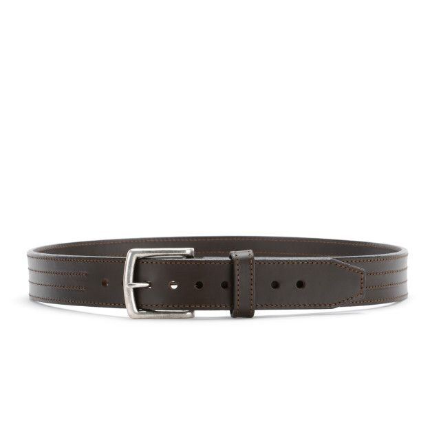 four stitch leather belt 32 inch in dark coffee brown leather