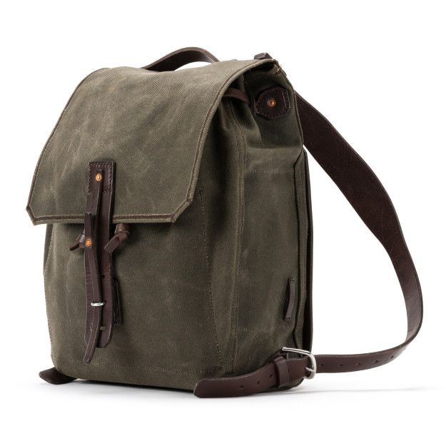 waxed canvas backpack small medium in moss green canvas