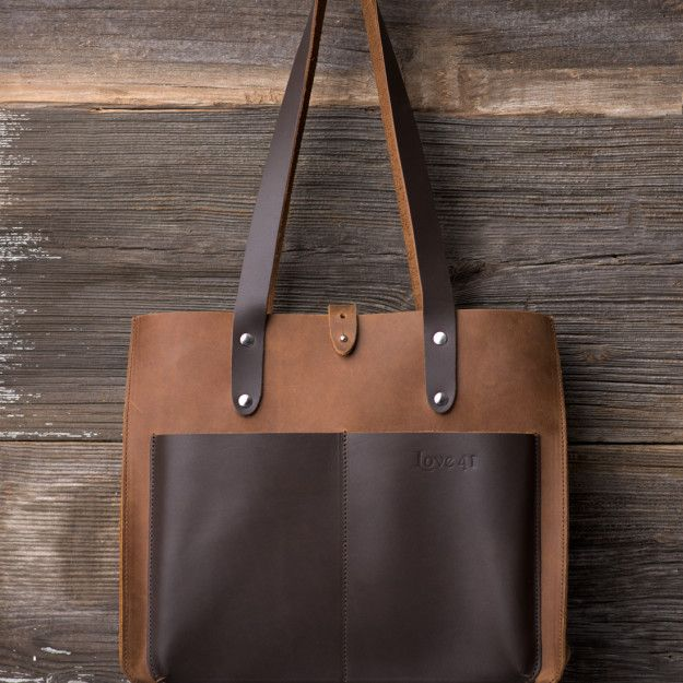 Suzette's Steals Leather Pocket Tote in tobacco