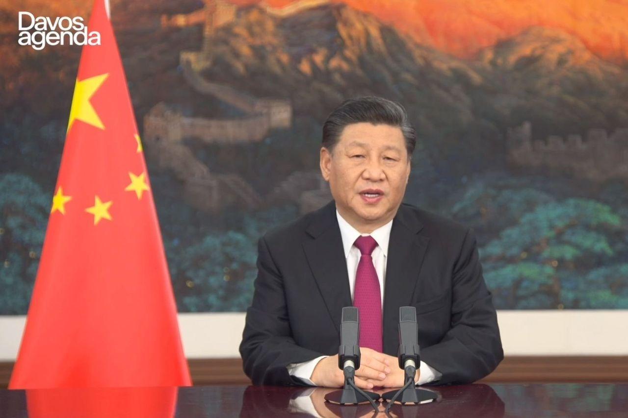 中国国家主席习近平在周一举行的世界经济论坛线上会议上发表讲话。