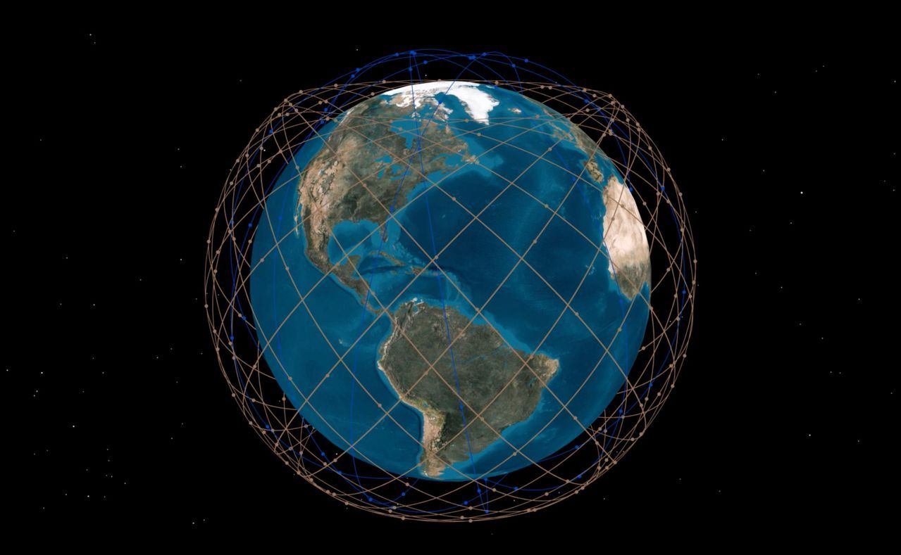 Telesat宽带卫星群工作状态示意图。