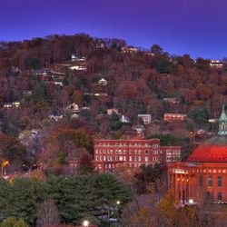 photo of homes on Town Mountain in Asheville NC with historic First Baptist Church in foreground