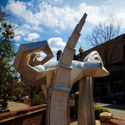 closeup photo of nonobjective sculpture in Pritchard Park, downtown Asheville NC