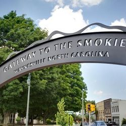 Photo of Archway Sign Welcoming People to Waynesville, NC-The Gateway to the Smokies