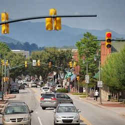 Street View of Waynesville with a Mountain View