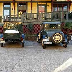 A Photo of Old Time Cars Outside the Saluda Station Depot
