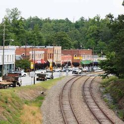 Photo of Rail Road Tracks Running Through Down Town Saluda