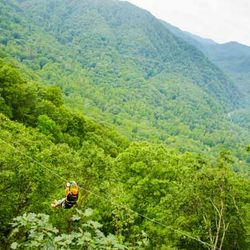 A Photo of Someone Zip Lining above the Forest in Saluda