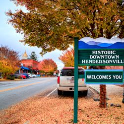 Photo of the Welcome sign leading into Hendersonville