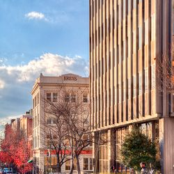 photo looking toward historic Kress Building in downtown Asheville NC