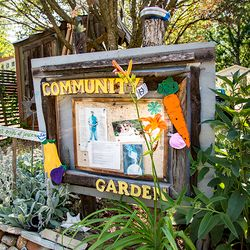 photo of entrance to one of Asheville, NC's many community garden spaces