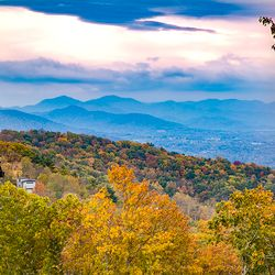 fall photo of near distant Blue Ridge Mountains from a mountaintop home near Asheville NC
