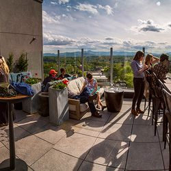 photo of high mountain view from the Montford rooftop bar in Asheville