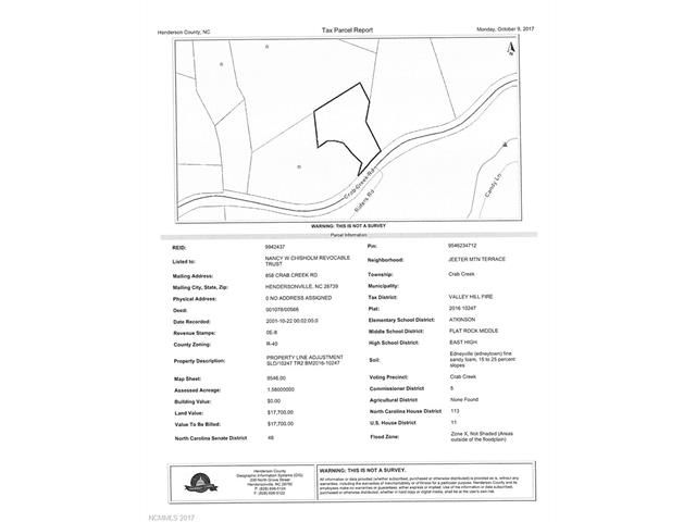 00000 Crab Creek Road in Hendersonville, North Carolina 28739 - MLS# 3327599