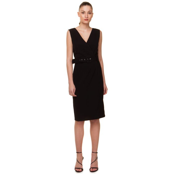 Pencil φόρεμα με ζώνη - ΜΑΥΡΟ