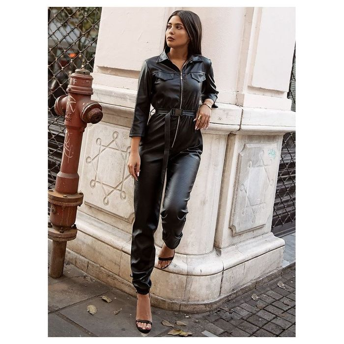 ILZE BLACK LEATHER JUMPSUIT