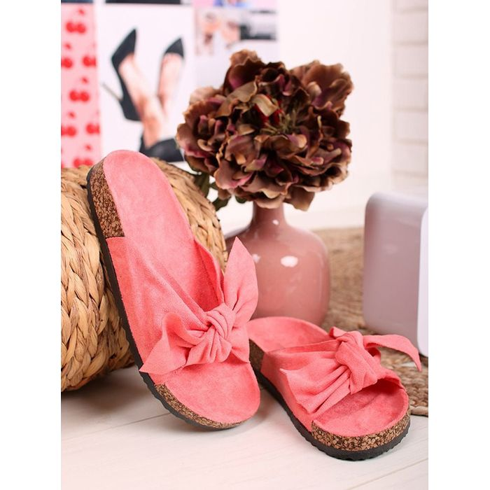 CORAL SUEDE BOW SLIPPERS
