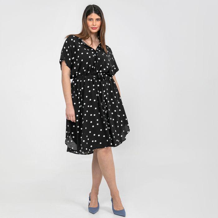 Σεμιζιέ φόρεμα πουά με δέσιμο