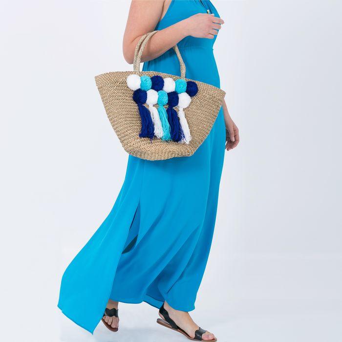 Τσάντα ψάθινη με πομ πον