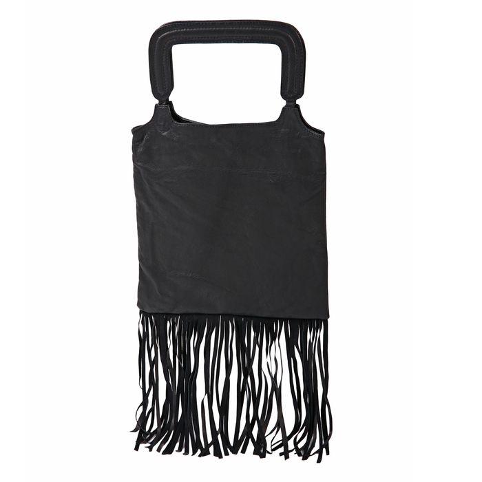 Δερμάτινη τσάντα shopper με κρόσσια