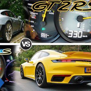 Кој прв до 330 км/ч.: Двобој на Porsche 992 Turbo S vs 911 GT2 RS