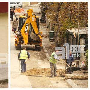 """Жителите на """"Пандо Кљашев"""" отсечени, со полиција пробивале пат преку ископи за канализација"""