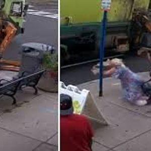 """Американка си пиела кафе на клупа, кога ја ,,нападна"""" камион за собирање смет"""