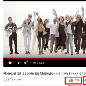 """ГРАЃАНИТЕ ЈА БОЈКОТИРА ВЛАДАТА И НА ЈУТУБ: Музичката естрада која повикува на промена на името губи 6:1 на """"Јутјуб""""!"""