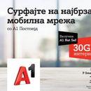 А1 за корисниците на мобилната телефонија: 30GB сурфање на најбрзата мобилна мрежа во земјата