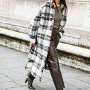 Сабота во карирано палто + кожни панталони