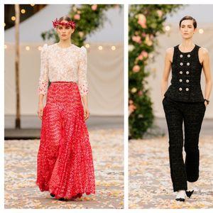 Шанел со симбиоза од машки крој и романтични цветни карнери на Неделата на висока мода