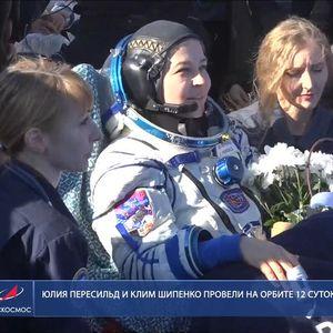 Руската филмска екипа се врати на Земјата откако снимаше филм во вселената