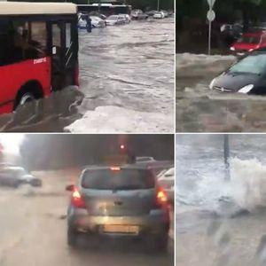 Поплава во Белград- патниците потопени во градски автобуси , автомобилите пловат