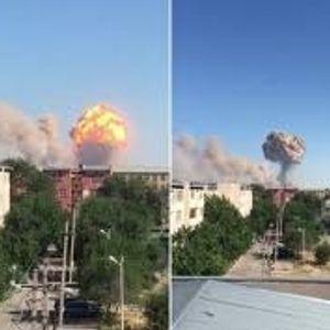 Евакуиран град по експлозии во склад за оружје