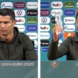Роналдо на прес конференција здогледа Кока-Кола и направи шоу (ВИДЕО)